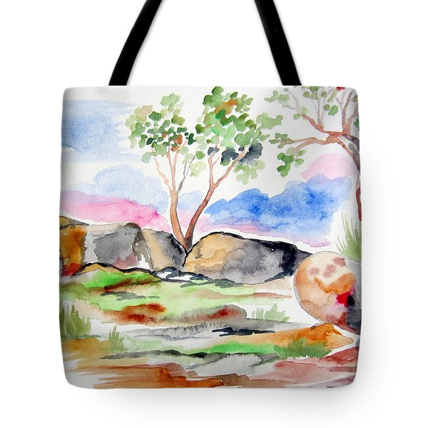 Tote Bag featuring the painting Australian Rocks Outback by Roberto Gagliardi