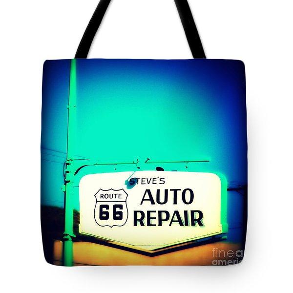 Auto Repair Sign On Route 66 Tote Bag by Susanne Van Hulst