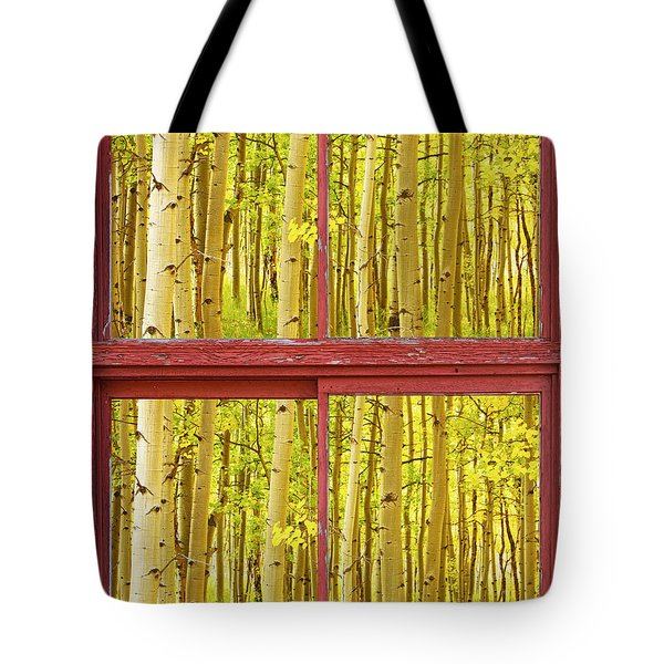 Autumn Aspen Trees Red Rustic Picture Window Frame Photos Fine A Tote Bag by James BO  Insogna