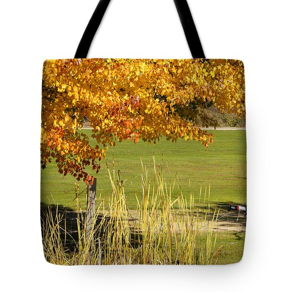 Autumn At The Schoolground Tote Bag by Mick Anderson