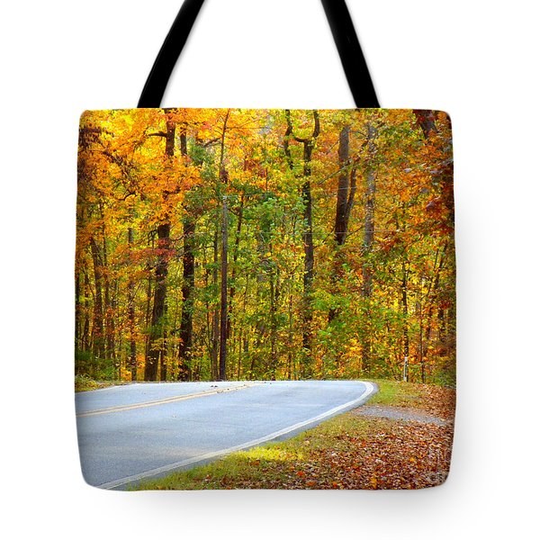 Tote Bag featuring the photograph Autumn Drive by Lydia Holly