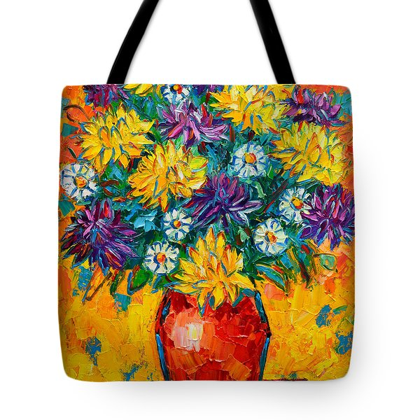 Autumn Flowers Gorgeous Mums - Original Oil Painting Tote Bag by Ana Maria Edulescu