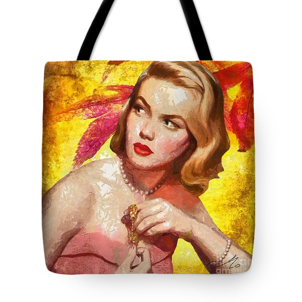 Autumn Girl Tote Bag by Mo T