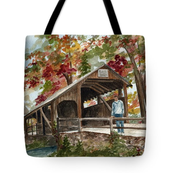 Tote Bag featuring the painting Autumn In Knoebels Grove  by Nancy Patterson