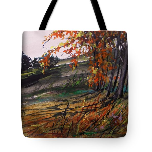 Tote Bag featuring the painting Autumn Intensity by John Williams