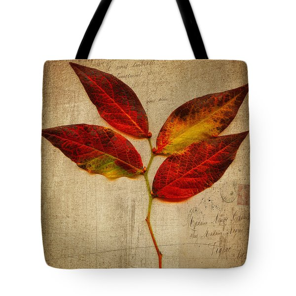 Autumn Leaf With Texture Tote Bag