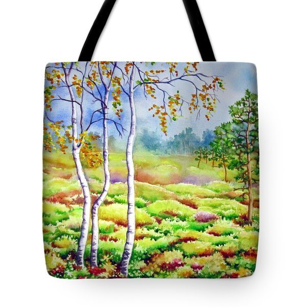 Tote Bag featuring the painting Autumn Marsh by Inese Poga