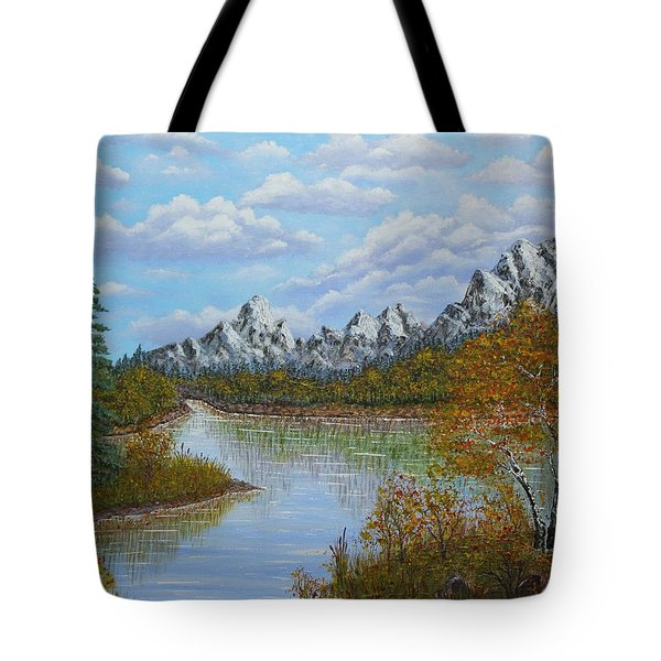 Autumn Mountains Lake Landscape Tote Bag by Georgeta  Blanaru