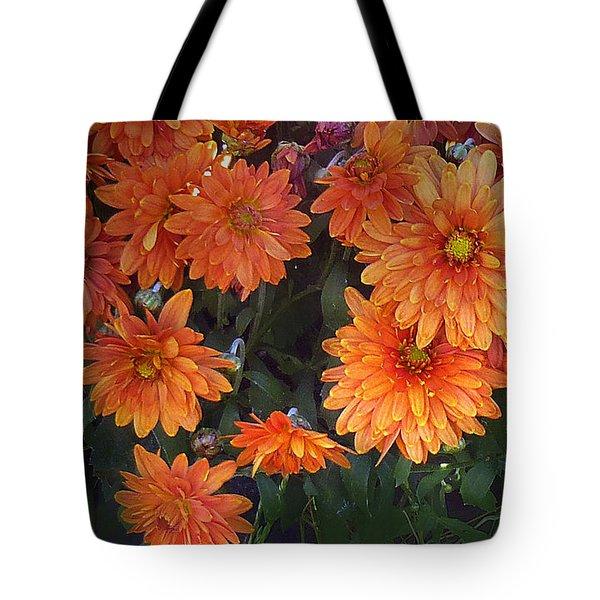 Autumn Orange Flowers Tote Bag by Mikki Cucuzzo
