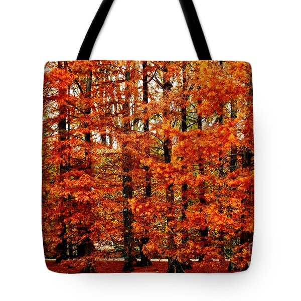 Autumn Red Maple Landscape Tote Bag