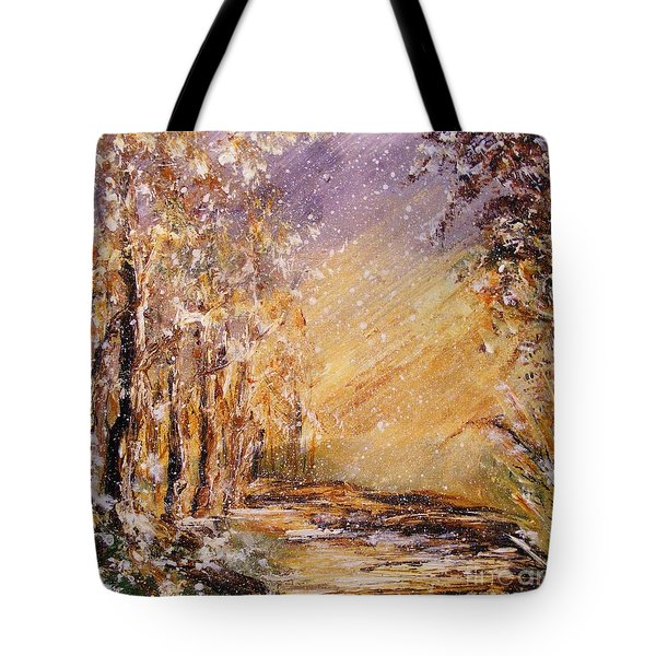Tote Bag featuring the painting Autumn Snow by Karen  Ferrand Carroll