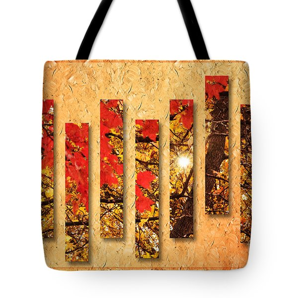 Autumn Sunrise Painterly Abstract Tote Bag by Andee Design