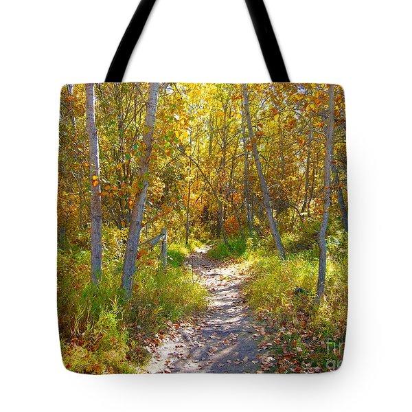 Autumn Trail Tote Bag by Jim Sauchyn