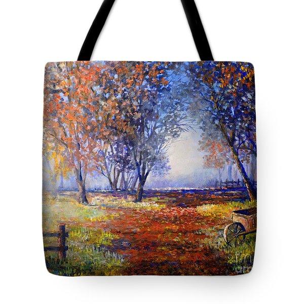 Autumn Wheelbarrow Tote Bag by Lou Ann Bagnall