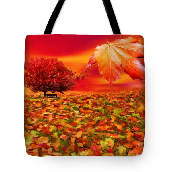Autumnal Scene Tote Bag by Lourry Legarde