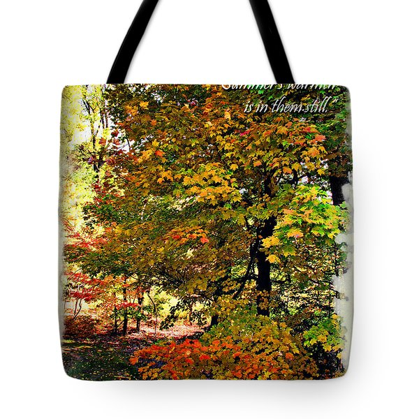 Autumn's Warmth Inspiration Quote Tote Bag by Joan  Minchak