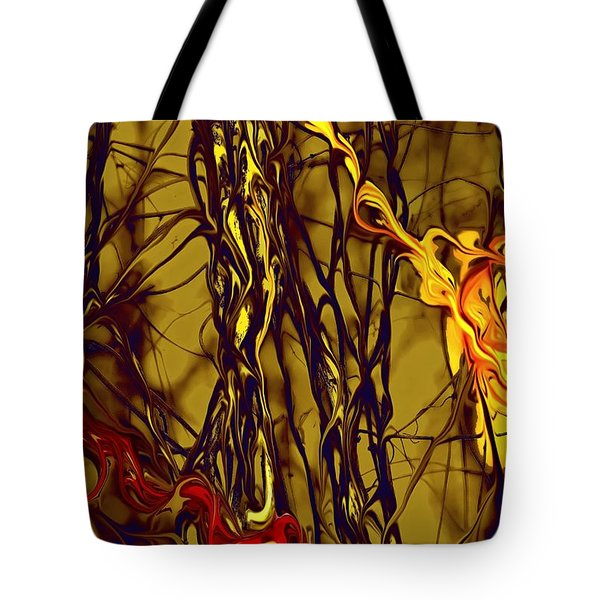 Tote Bag featuring the digital art Shapes Of Fire by Leo Symon