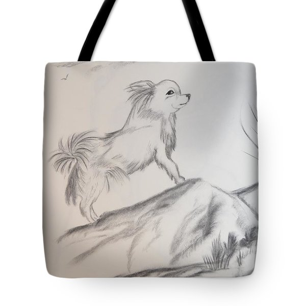 Tote Bag featuring the drawing Aye Chihuahua by Maria Urso