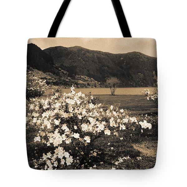 Azaleas By The Lake Tote Bag by Gaspar Avila