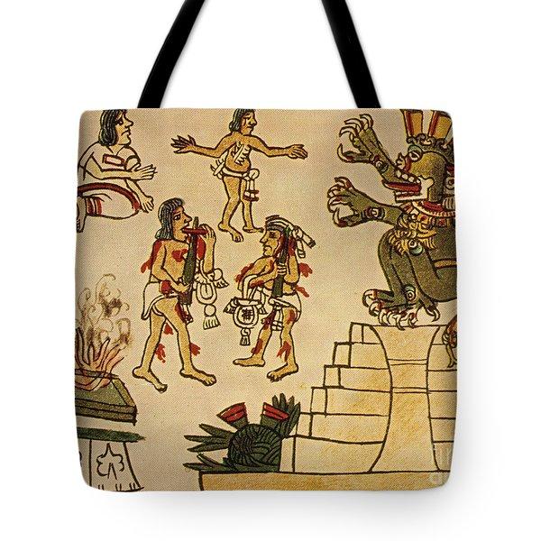 Aztec Priests Appease Mictlantecuhtli Tote Bag by Photo Researchers