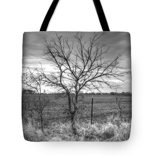 B/w Tree In The Country Tote Bag