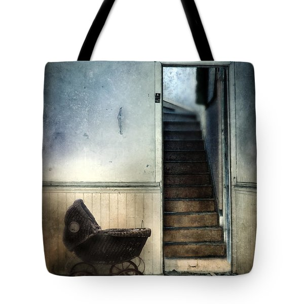 Baby Buggy In Abandoned House Tote Bag by Jill Battaglia