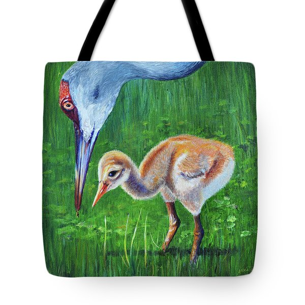 Tote Bag featuring the painting Baby Crane's Lesson by AnnaJo Vahle