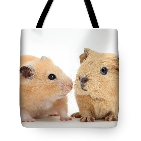 Baby Guinea Pig And Golden Hamster Tote Bag by Mark Taylor