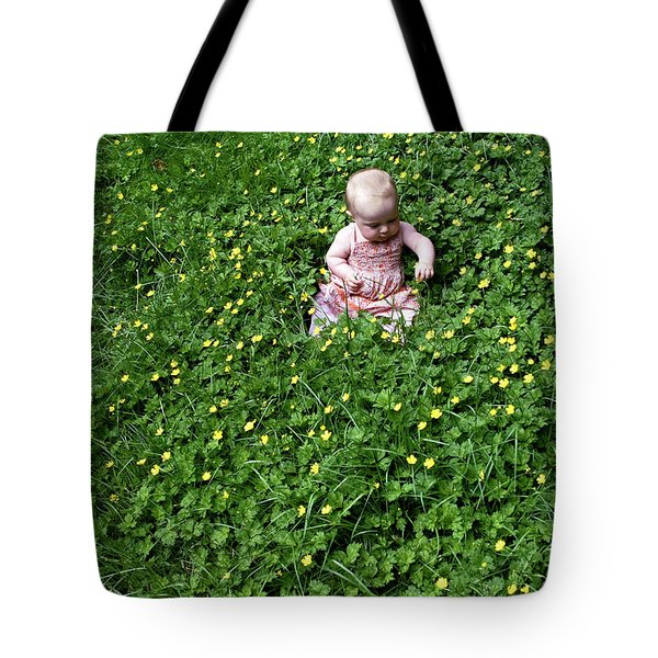 Tote Bag featuring the photograph Baby In A Field Of Flowers by Lorraine Devon Wilke