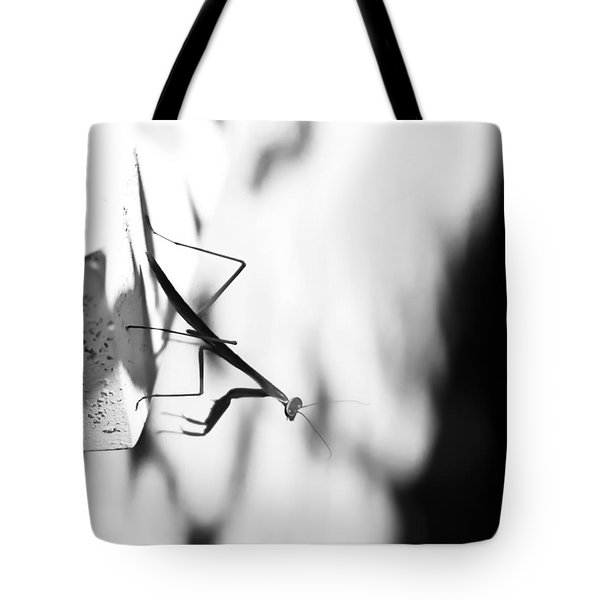 Baby Mantis Black And White Tote Bag by Theresa Johnson
