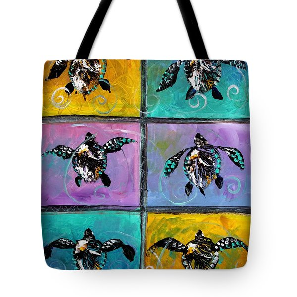 Baby Sea Turtles Six Tote Bag by J Vincent Scarpace