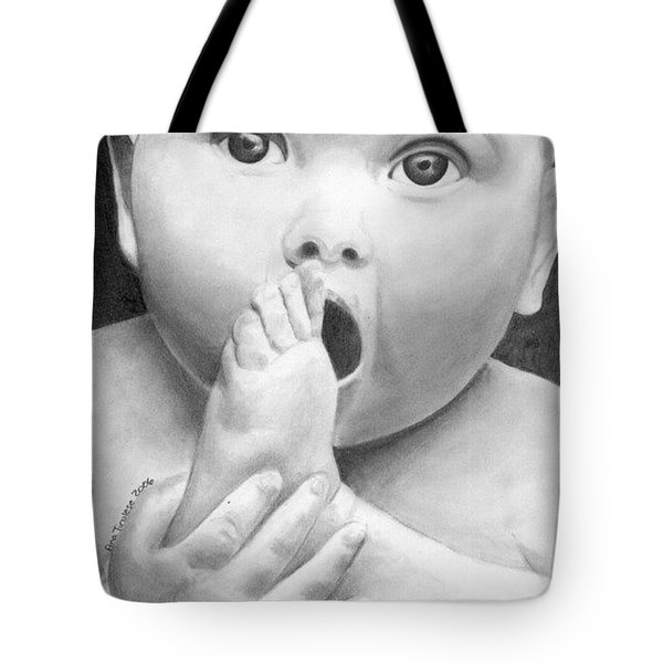 Tote Bag featuring the drawing Baby Snack Time by Ana Tirolese