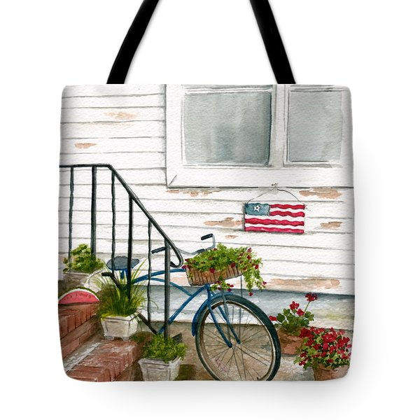 Tote Bag featuring the painting Back Step by Nancy Patterson