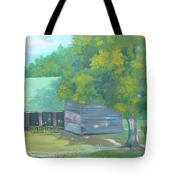Tote Bag featuring the painting Backyard by Carol Berning