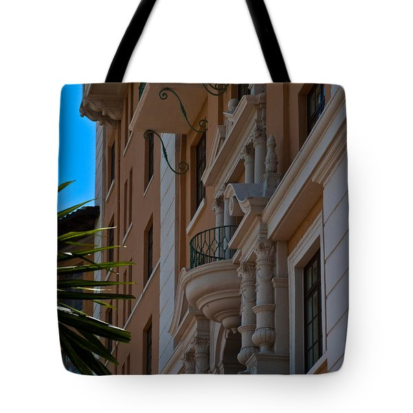 Tote Bag featuring the photograph Balcony At The Biltmore Hotel by Ed Gleichman