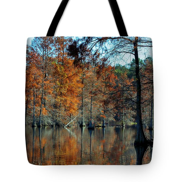 Bald Cypress In Autumn Tote Bag by Theresa Johnson