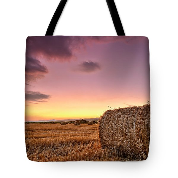 Bales At Twilight Tote Bag by Evgeni Dinev