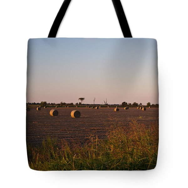 Bales In Peanut Field 10 Tote Bag by Douglas Barnett