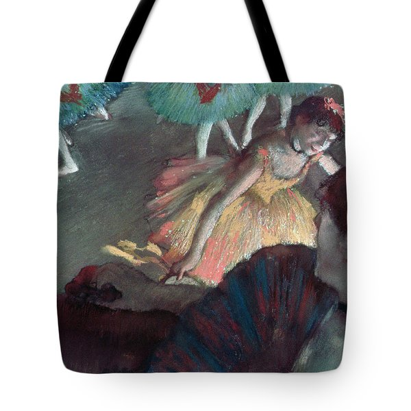 Ballerina And Lady With A Fan Tote Bag by Edgar Degas