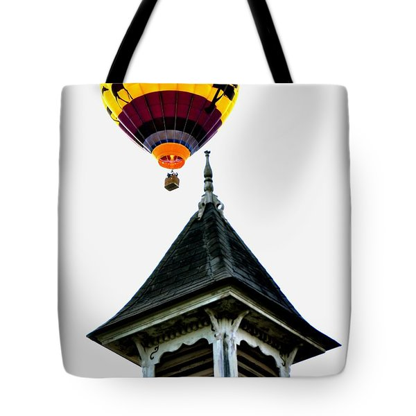 Tote Bag featuring the photograph Balloon By The Steeple by Rick Frost