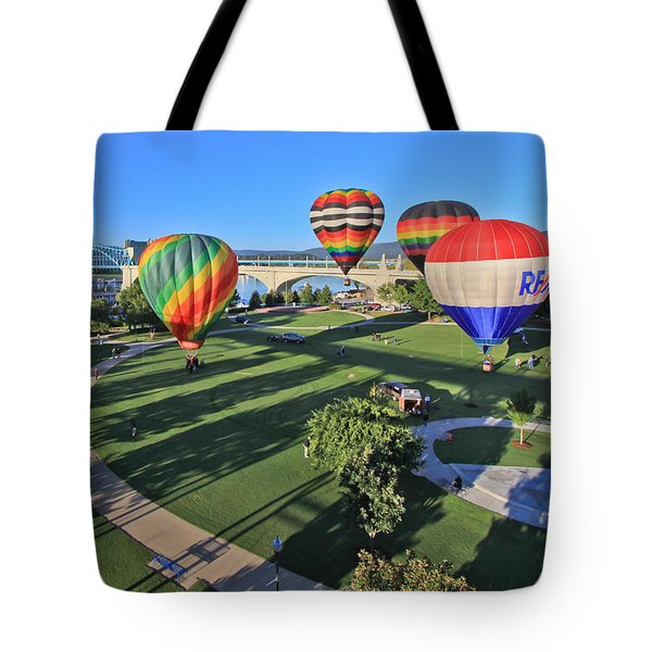 Balloons In Coolidge Park Tote Bag by Tom and Pat Cory
