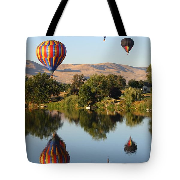 Balloons Over Horse Heaven Tote Bag by Carol Groenen