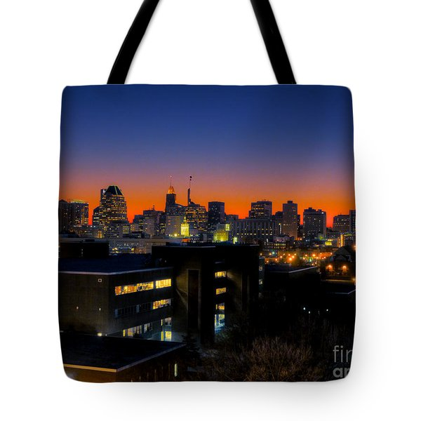Tote Bag featuring the photograph Baltimore At Sunset by Mark Dodd