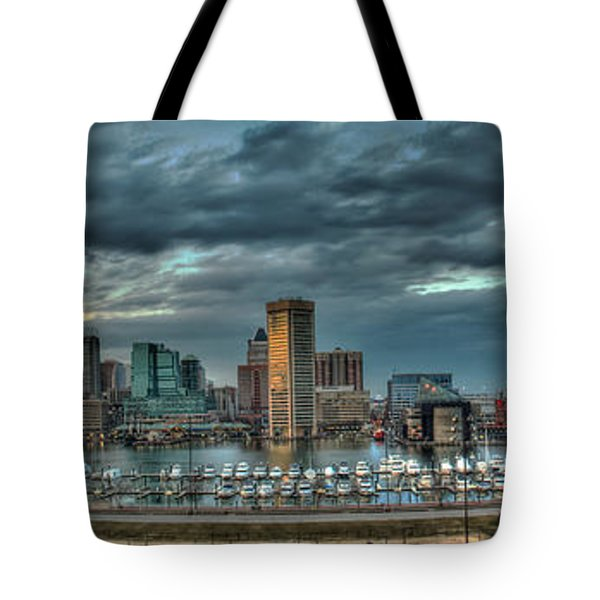Tote Bag featuring the photograph Baltimore Inner Harbor Pano by Mark Dodd