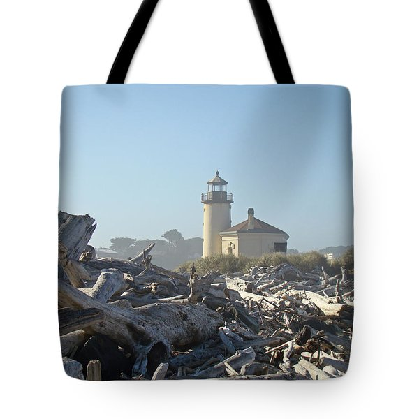 Bandon Oregon Lighthouse Art Prints Driftwood Tote Bag by Baslee Troutman