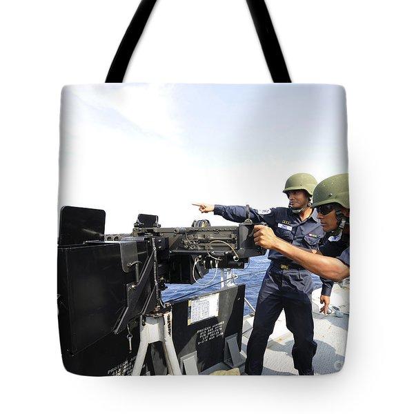 Bangladesh Navy Sailors Fire Tote Bag by Stocktrek Images