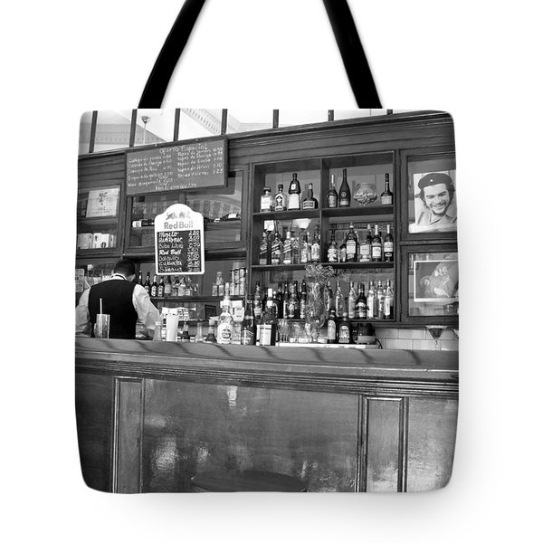Tote Bag featuring the photograph Bar In Old Havana by Lynn Bolt