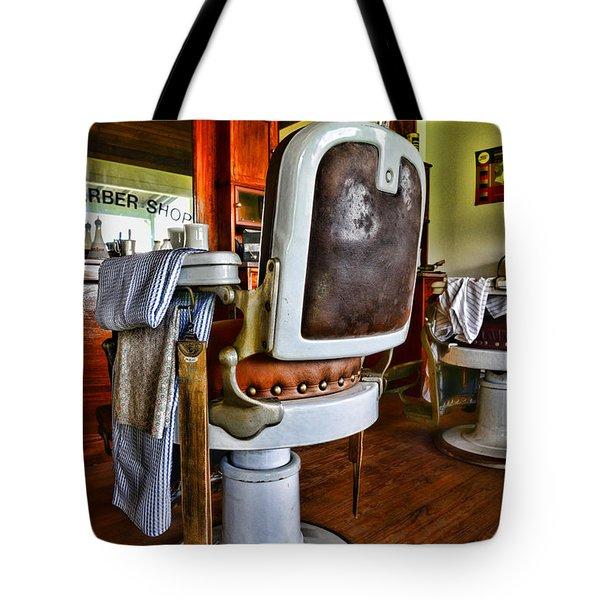 Barber - Barber Chair Tote Bag by Paul Ward
