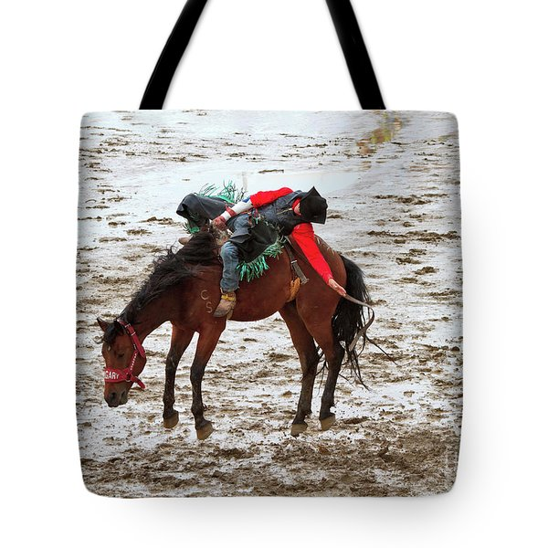 Bareback Riding Event Calgary Stampede Tote Bag