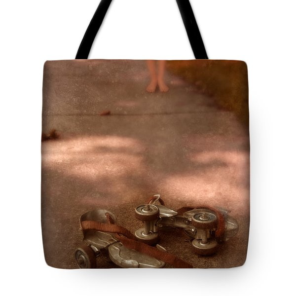 Barefoot Girl On Sidewalk With Roller Skates Tote Bag by Jill Battaglia